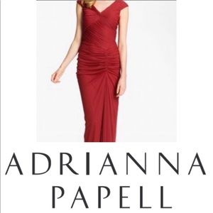 BNWT Adrianna Pappel Bordeaux Ruched Bodycon Gown